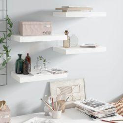 4 db magasfényű fehér MDF lebegő fali polc 40 x 23 x 3,8 cm