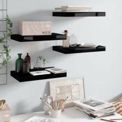 4 db magasfényű fekete MDF lebegő fali polc 40 x 23 x 3,8 cm