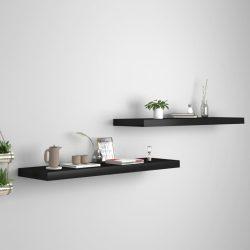 2 db fekete MDF lebegő fali polc 90 x 23,5 x 3,8 cm