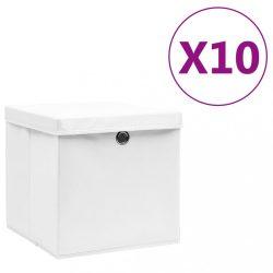 10 db fehér fedeles tárolódoboz 28 x 28 x 28 cm