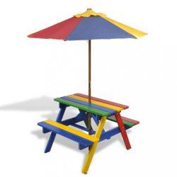 színes fa gyerek piknikasztal paddal és napernyővel