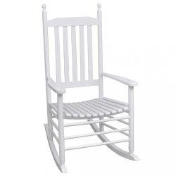 fehér fa hintaszék ívelt ülőfelülettel