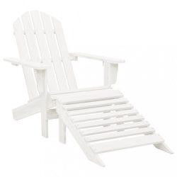 fehér fa kerti szék zsámollyal