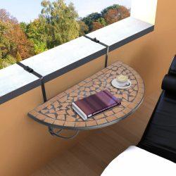 terrakotta mozaik felakasztható erkély asztal
