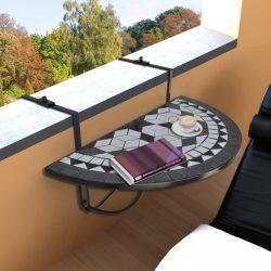 fekete és fehér mozaik felakasztható erkély asztal