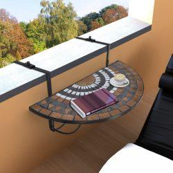 terrakotta és fehér mozaik felakasztható erkély asztal