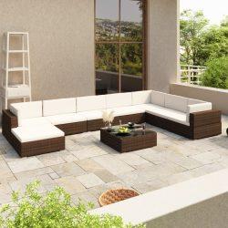 8-részes barna polyrattan kerti bútorszett párnákkal