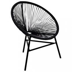 Ovális alakú poly rattan szék fekete