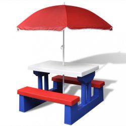 színes gyerek piknikasztal paddal és napernyővel