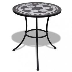 fekete és fehér mozaik bisztró asztal 60 cm