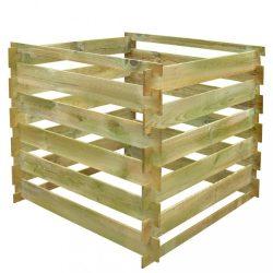 négyzet alakú fa komposztáló láda 0,54 m3