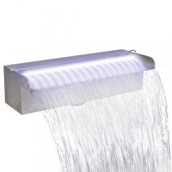 Négyszögletes rozsdamentes acél medence-zuhatag LED fényekkel 30 cm