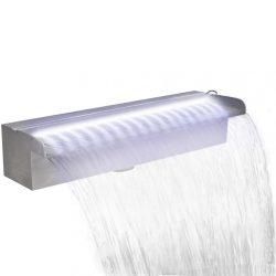 Négyszögletes rozsdamentes acél medence-zuhatag LED fényekkel 45 cm