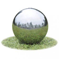 kerti gömb alakú rozsdamentes acél szökőkút LED-fényekkel 30 cm