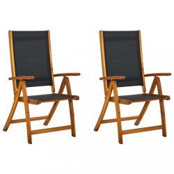 2 db összecsukható tömör akácfa és textilén kerti szék