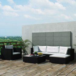 6-részes fekete polyrattan kerti bútorszett párnákkal