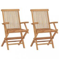 2 db összecsukható tömör tíkfa kerti szék