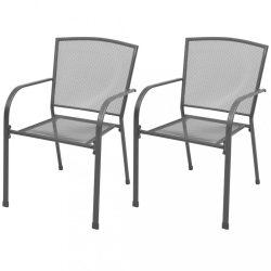 2 db szürke rakásolható acél kerti szék