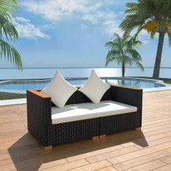fekete polyrattan kerti kanapé