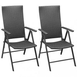 2 db fekete rakásolható polyrattan kerti szék