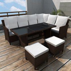 4-részes barna polyrattan kerti bútorszett párnákkal