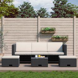 4-részes fekete polyrattan kerti bútorszett párnákkal