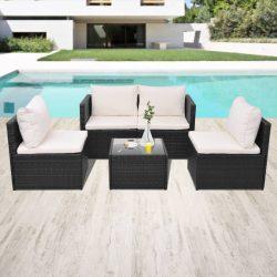 5-részes fekete polyrattan kerti bútorszett párnákkal