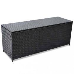 fekete polyrattan kerti tárolóláda 150 x 50 x 60 cm