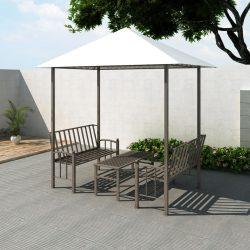 kerti pavilon asztallal és padokkal 2,5 x 1,5 x 2,4 m