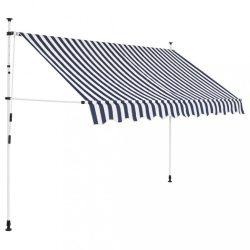 kézzel feltekerhető napellenző kék-fehér csíkokkal 250 cm