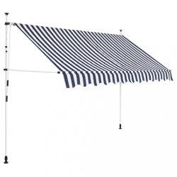 kézzel feltekerhető napellenző kék-fehér csíkokkal 300 cm