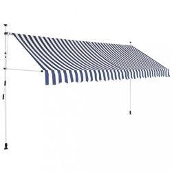 kézzel feltekerhető napellenző kék-fehér csíkokkal 350 cm
