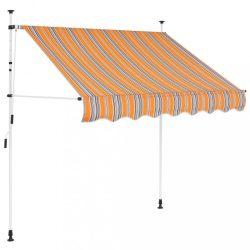 manuális, feltekerhető napellenző kék-sárga csíkokkal 150 cm