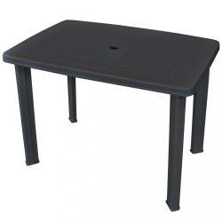antracitszürke műanyag kerti asztal 101 x 68 x 72 cm