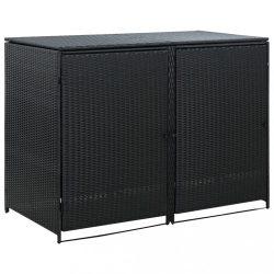 fekete rattan dupla tároló gurulós kukához 148 x 80 x 111 cm