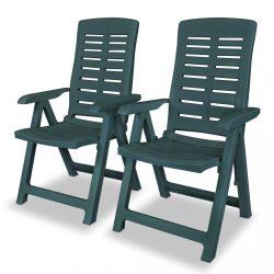 2 db zöld dönthető műanyag kerti szék