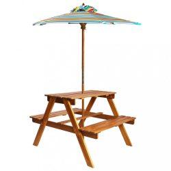 tömör akácfa gyermek piknikasztal napernyővel 79x90x60 cm
