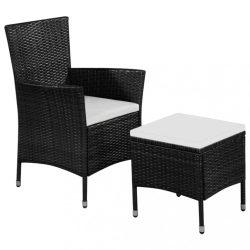 fekete polyrattan kültéri szék zsámollyal és párnákkal