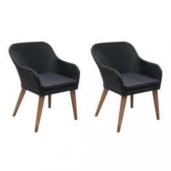 2 db fekete polyrattan kültéri szék párnával