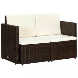 barna kétszemélyes polyrattan kerti kanapé párnákkal