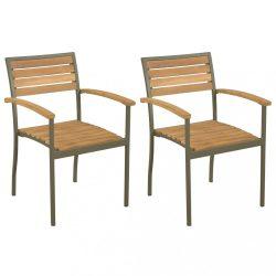 2 db rakásolható tömör akácfa és acél kültéri szék