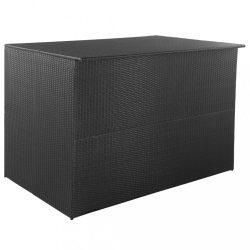 fekete polyrattan kerti tárolóláda 150 x 100 x 100 cm