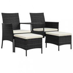 fekete 2-személyes polyrattan kerti fotel asztallal/zsámolyokkal