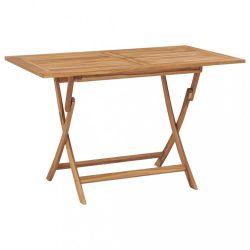 tömör tíkfa összecsukható kerti asztal 120 x 70 x 75 cm