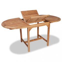 tömör tíkfa kihúzható kerti asztal (110-160) x 80 x 75 cm