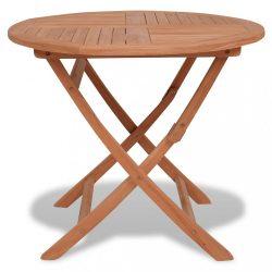tömör tíkfa összecsukható kerti asztal 85 x 76 cm