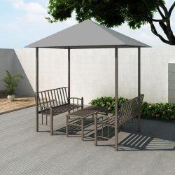 antracitszürke kerti pavilon asztallal és padokkal 2,5x1,5x2,4m