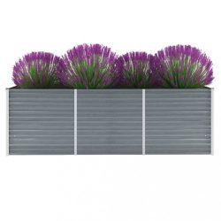 szürke horganyzott acél kerti magaságyás 240 x 80 x 77 cm