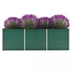 zöld horganyzott acél kerti magaságyás 240 x 80 x 77 cm