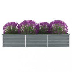 szürke horganyzott acél kerti magaságyás 240 x 80 x 45 cm